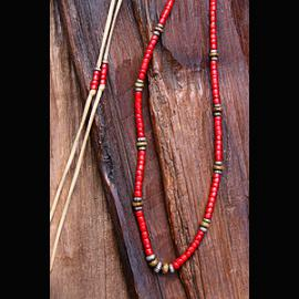 Antique white hearts  Beads Necklace ( アンティーク ホワイトハート ビーズ 血赤 オールドベネチアン)